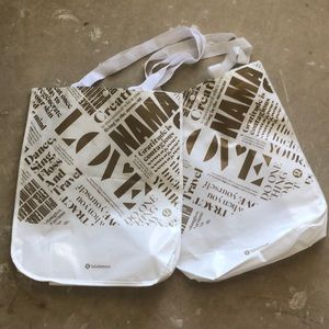 lululemon bags with gold text